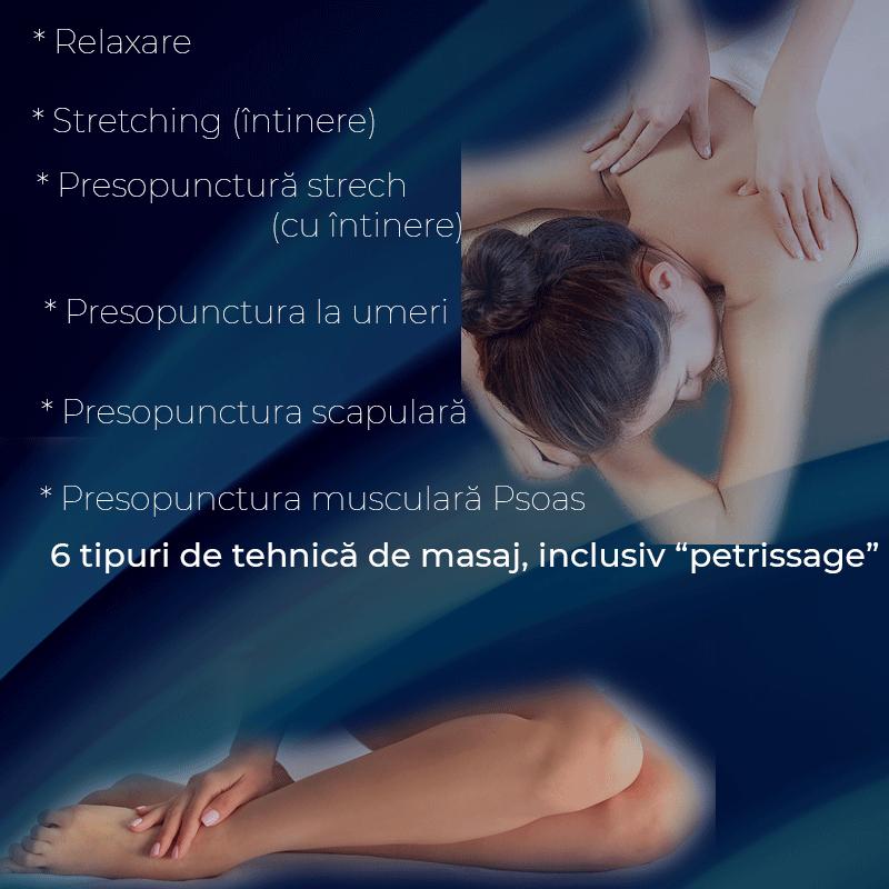 "Nou -  6 tipuri de tehnică de masaj, inclusiv ""petrissage"" (tehnică de masaj, care include şi tehnica de masaj cu framantare)"